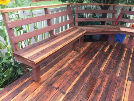 power washed and sanded floor and bench